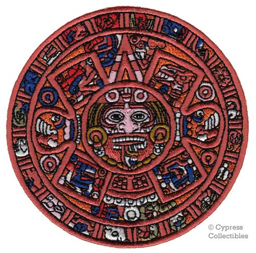 MAYAN DOOMSDAY CALENDAR PATCH embroidered ironon AZTEC