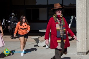 Professor and staff in Halloween garb