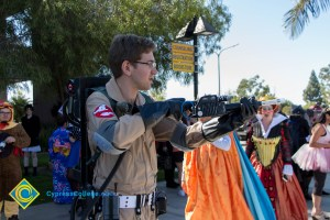 Man dressed up in Ghostbusters costume