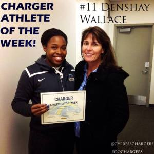 Photograph of Denshay Wallace of the Cypress College Women's Basketball team
