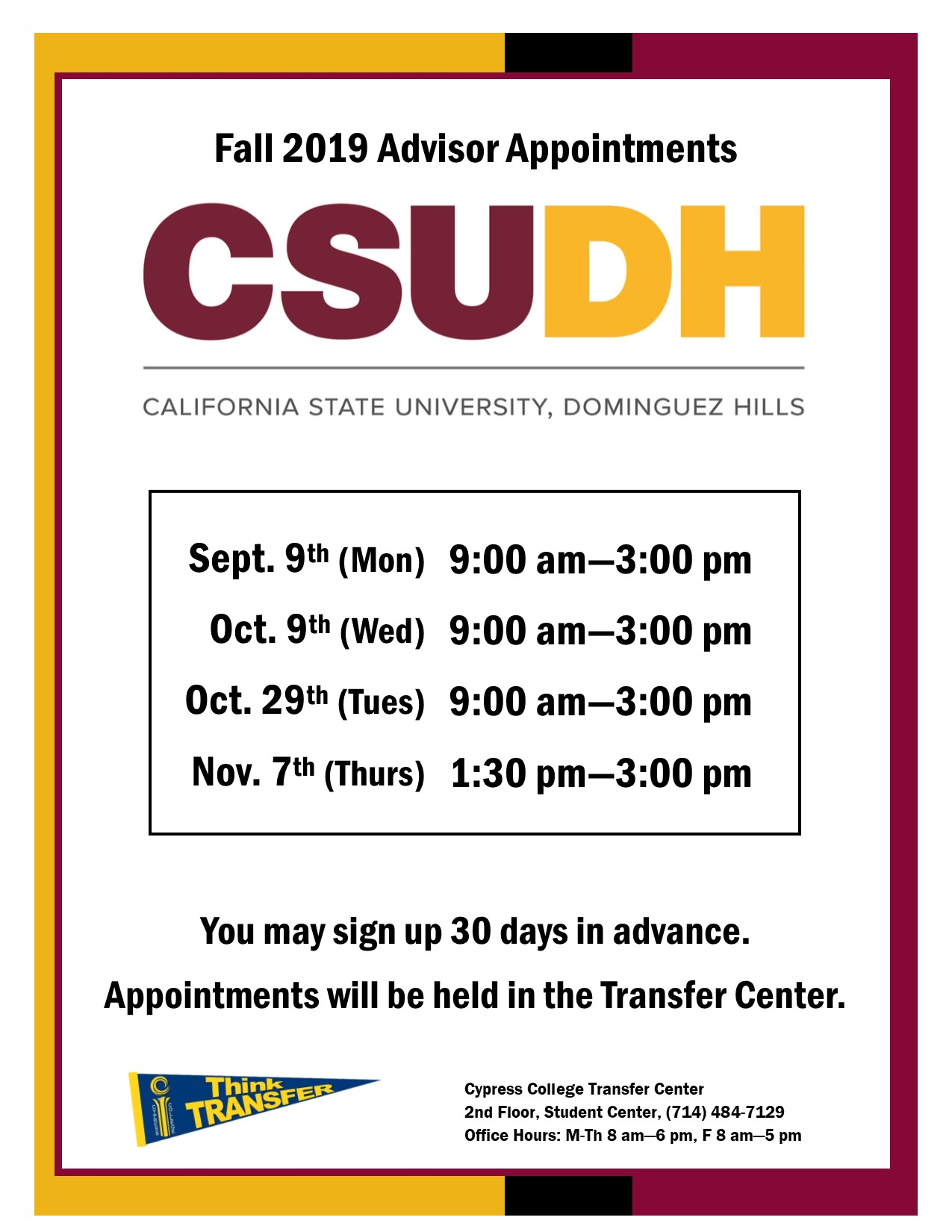 2019 CSUDH advisor appointments dates and times