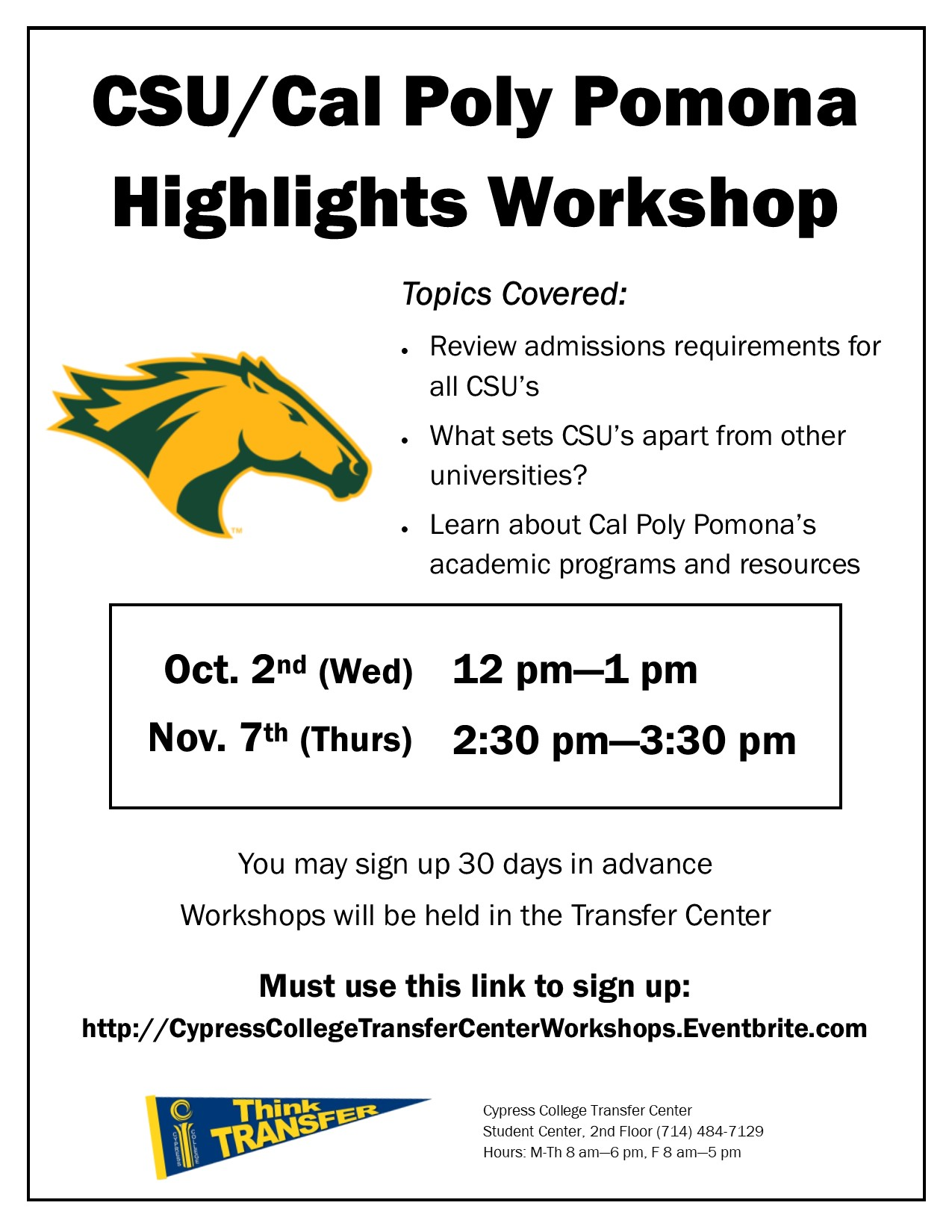 2019 CSU/Cal Poly Pomona Highlights Workshop dates and times