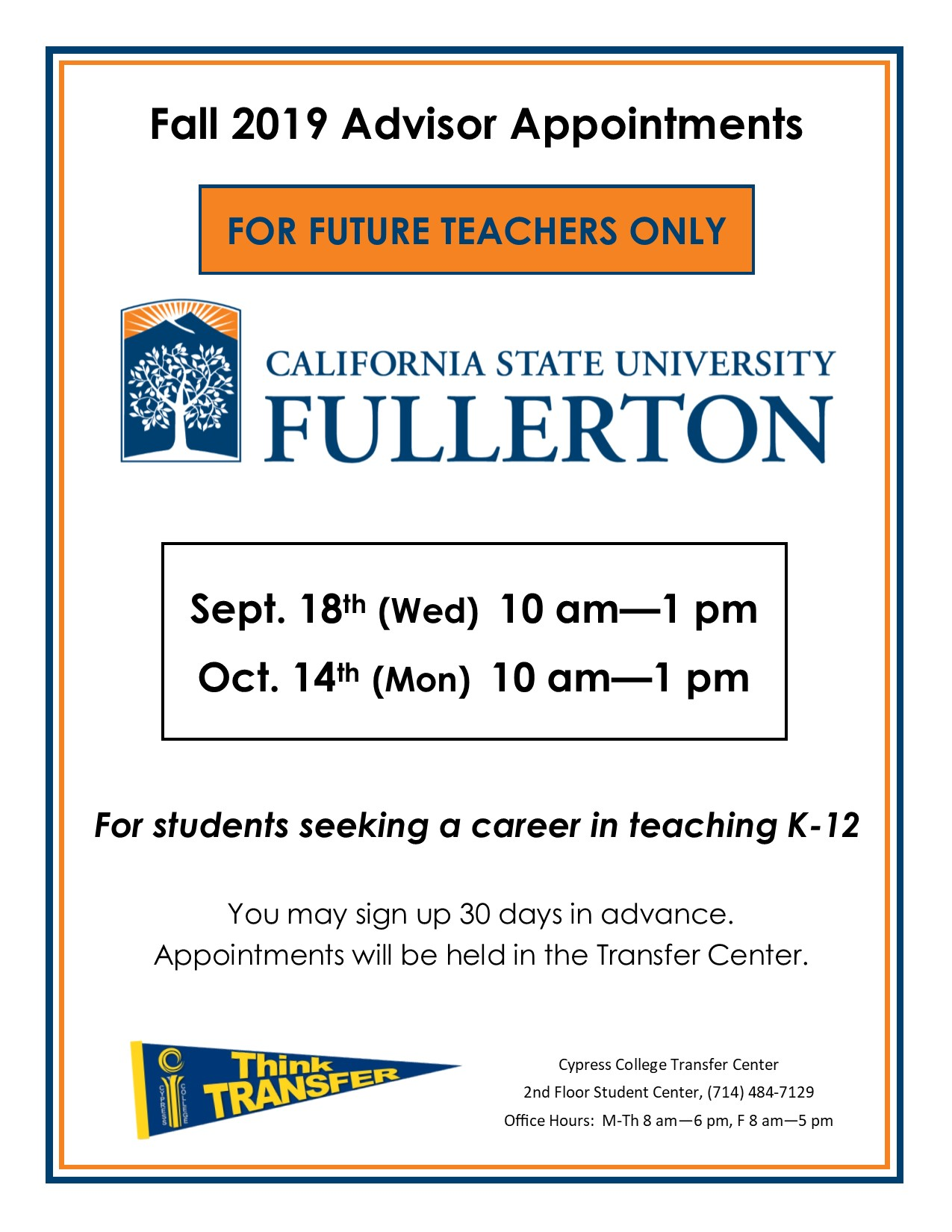 Flyer with white background, CSUF logo, and Transfer Pennant