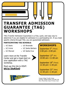 Flyer for Transfer Admission Guarantee Workshops