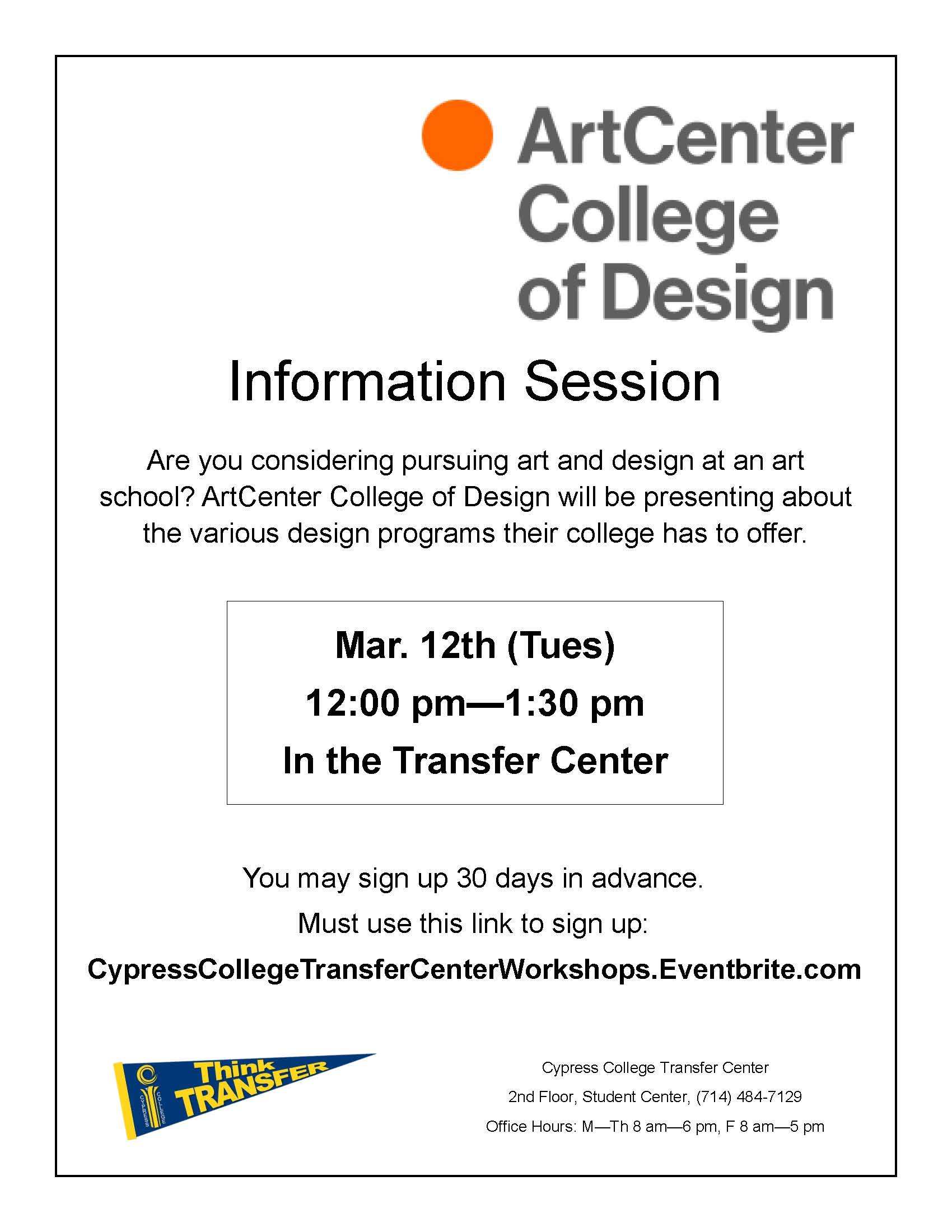 Art Center College Of Design Information Session Cypress