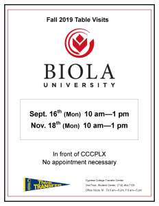 Flyer on white background with Biola University logo and transfer pennant