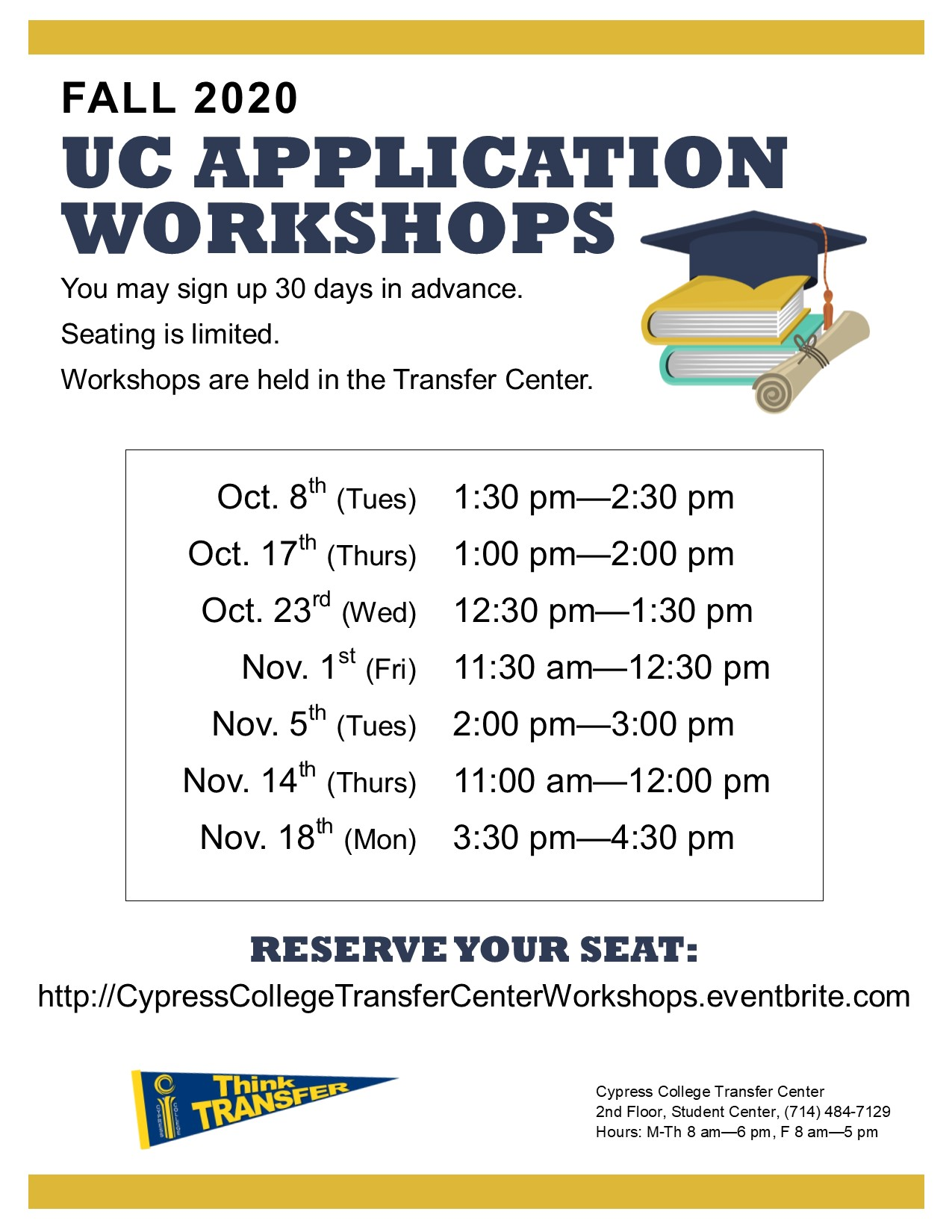 2019 UC application workshops dates and times