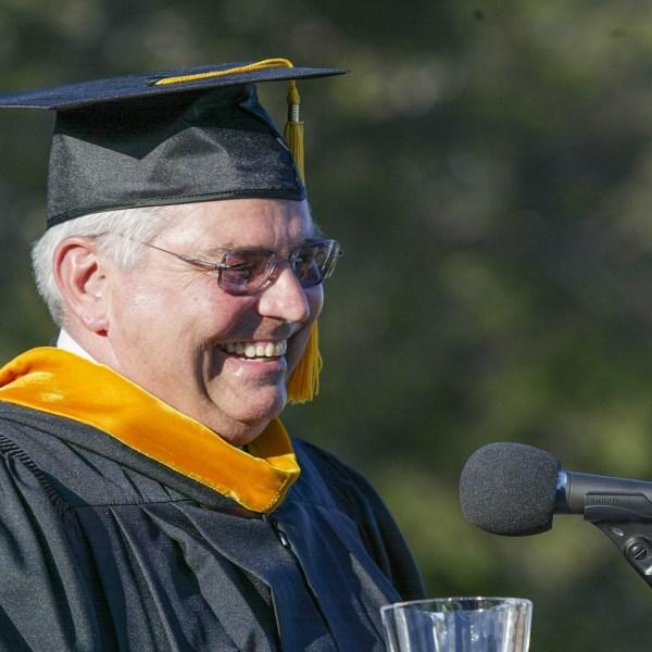 Walt Bowman speaking at graduation.