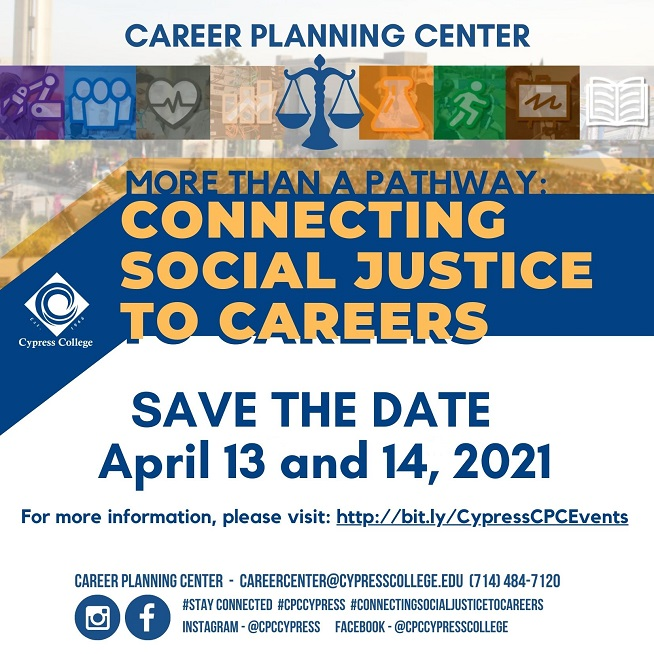 Connecting Social Justice to Careers Event Flyer