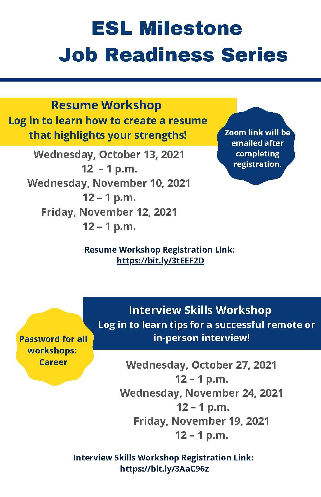 ESL Milestone Job Readiness Series flyer