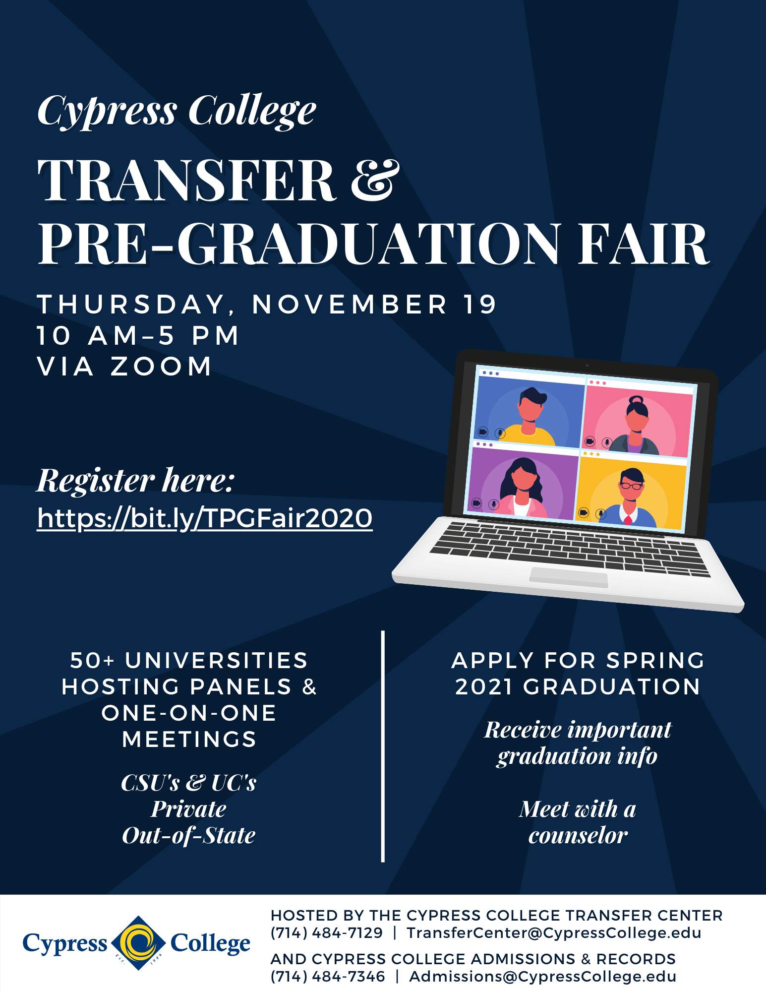 Transfer & Pre-Graduation Fair Flyer