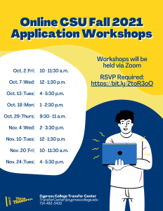 Online CSU Fall 2021 Application Workshops flyer
