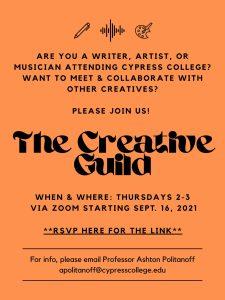 Creative Guild meetings flyer