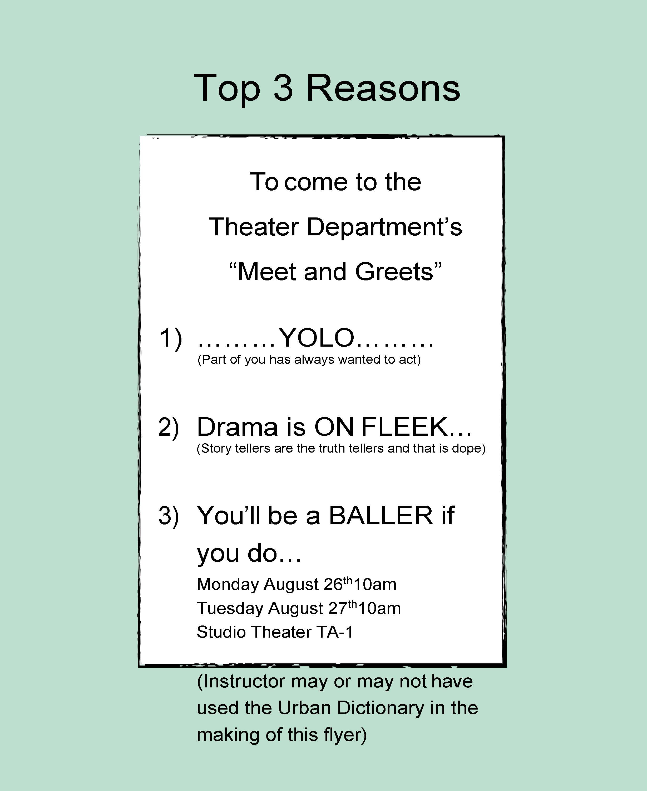 Theater Department Meet and Greet information