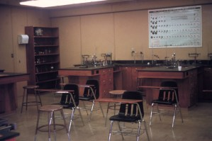 Desks and lab equipment in classroom