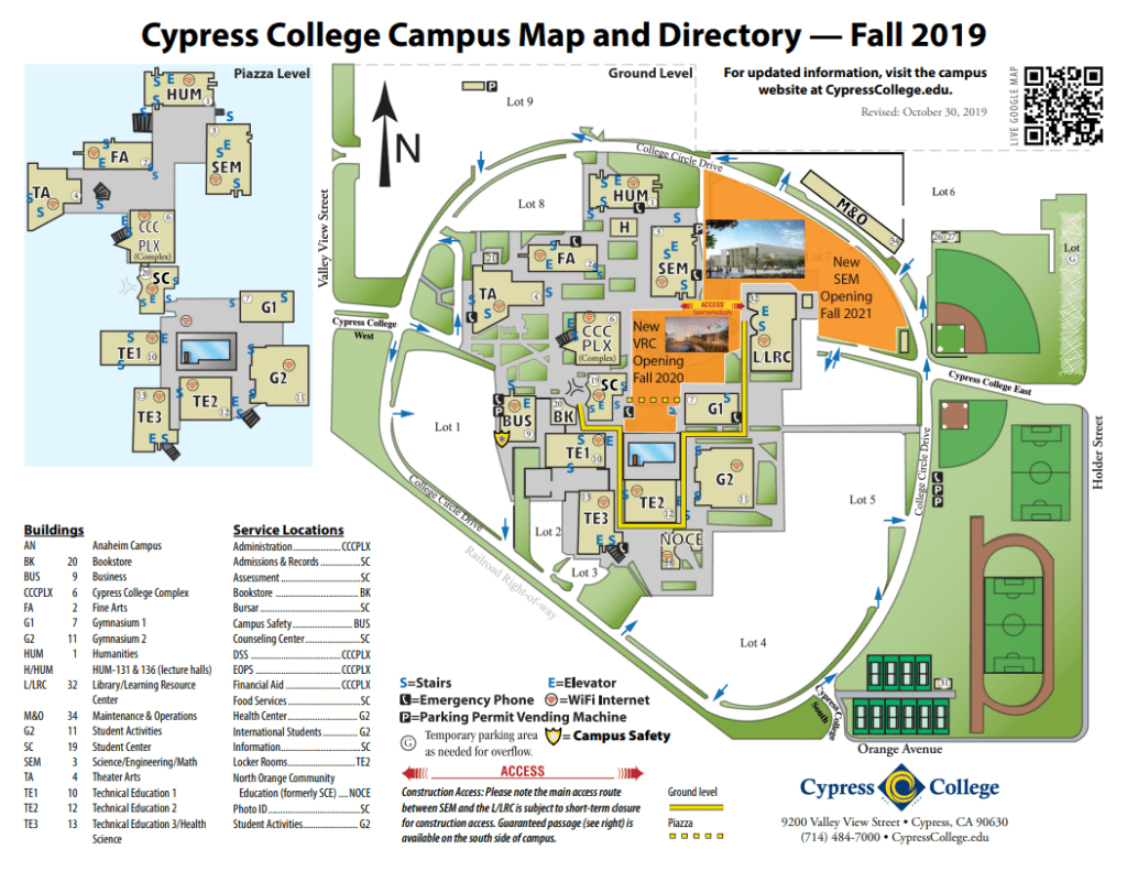 Map of Cypress College Campus