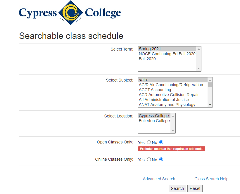 Screenshot of searchable class schedule