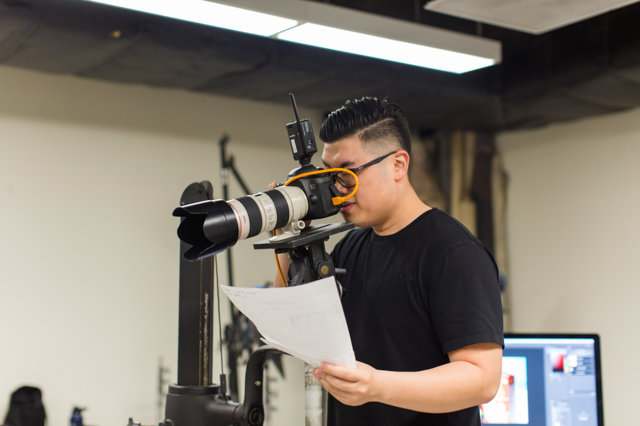 Student using a camera