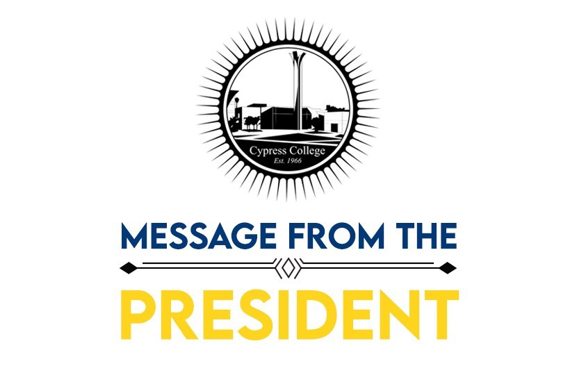 """Campus seal with words """"message from the president"""""""