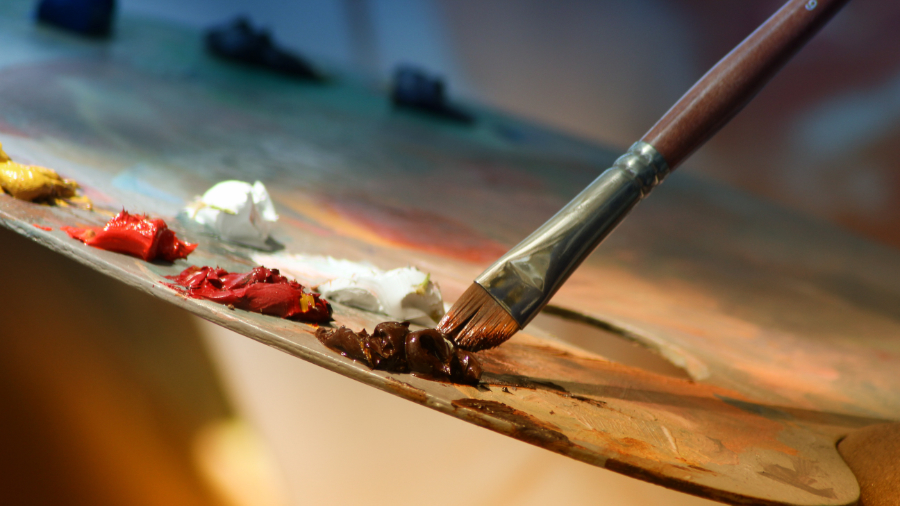 Painter's palette and brush