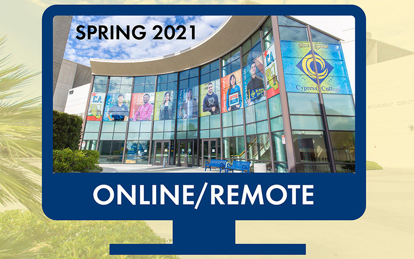 "Computer screen with image of student center and words ""spring 2021 online/remote"""