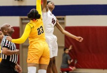 Tiffany Mack (Cy Springs 10) gets the jump ball away from Riane Burton (Cy Rancy 23). Cy Ranch defeated the Lady Panthers, 50-23, with just a single regular season game left this season. Last week, Mack surpassed 1,000 career points. The previous time a Cy Springs Lady Panther achieved this goal was a decade ago. (Cypress News Review photo by Creighton Holub)
