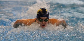 Cypress Ranch High School senior Kylie Bennett swims in the 200-yard individual medley at the Region V-6A championships. Bennett qualified for the UIL State Swimming and Diving Championships in the 500 freestyle. (CFISD courtesy photo)