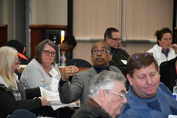 Community members collaborate during a January long-range planning committee meeting. (CFISD courtesy photo)