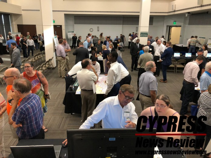 Cypress citizens meet with Harris County Flood Control District and Harris County employees during the bond election process at the Weekley Community Center July 31, 2018. (Cypress News Review photo by Creighton Holub)