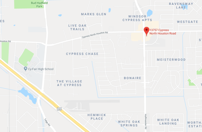 The location of an armed robbery this morning around 9:30 a.m. at a Cypress CVS at 13757 Cypress N Houston. (Google Maps)