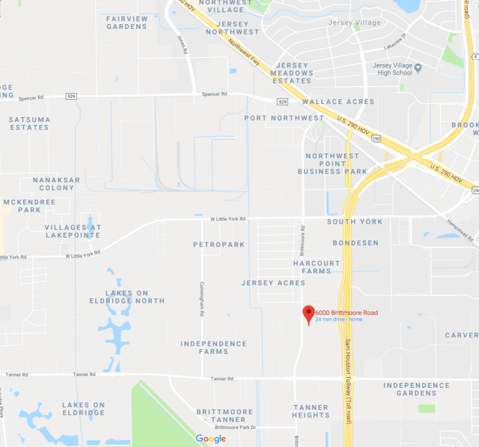 The location of yesterday's fire where a wall collapsed on three firefighters at the 6000 block of Brittmoore Road. (Google Maps)