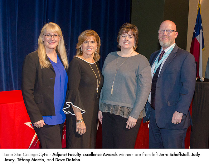 Lone Star College - CyFair Adjunct Faculty Excellence Awards winners are from left to right: Jerre Schoffstall, Judy Josey, Tiffany Martin and Dave DeJohn. (Courtesy photo)