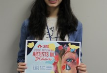 Damaris Haro, a junior at Cypress Springs High School, holds a poster with her art promoting the Cy-Fair ISD's upcoming Spring Art Exhibit. (Courtesy photo)