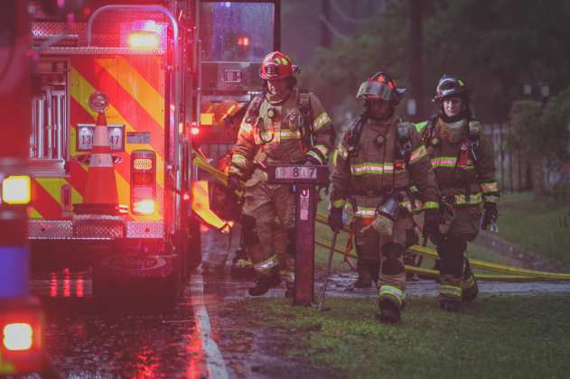 Cy-Fair VFD crews respond to a residential structure fire in the 14800 block of Jarvis Road in Cypress during heavy thunderstorms Sunday, April 7, 2019. (Photo: Lt, Daniel Arizpe, PIO / Cy-Fair VFD)