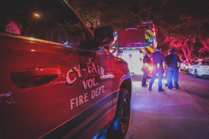 Just east of Jersey Village, the Cy-Fair Volunteer Fire Department and the Precinct 4 Constable's Office responded to a shooting death at 9434 Walnut Brook Court, late last night, July 20, 2019. (CFVFD PIO photo by Lt. Daniel Arizpe)