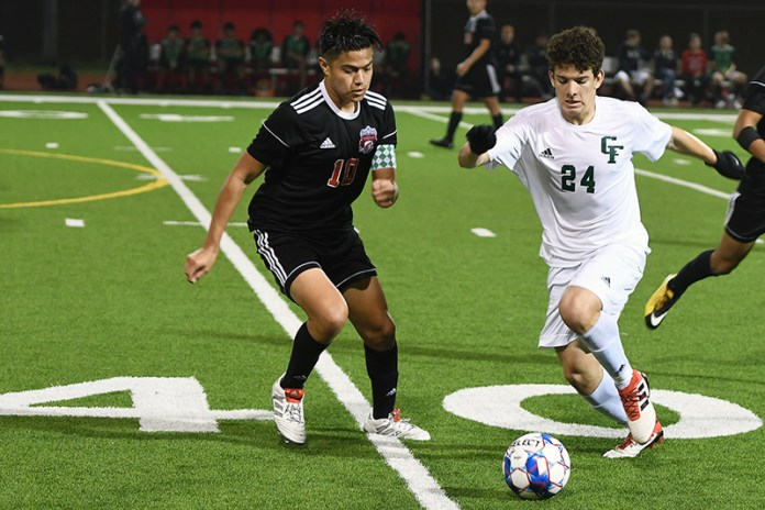 Langham Creek High School graduate Abraham Miranda (left) was named to the Texas High School Coaches Association Academic All-State Team. The former boys' soccer standout earned second-team honors. (CFISD Courtesy photo)