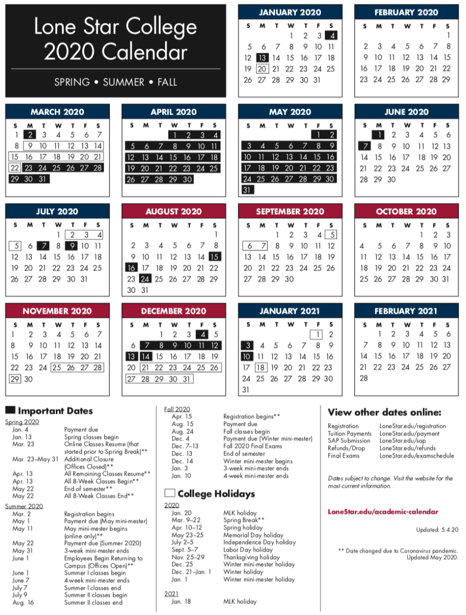 Lone Star College calendar for the 2020 2021 school year – Cypress