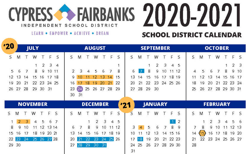 CFISD Cypress Fairbanks ISD 2020 2021 school year calendars