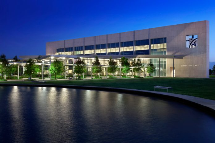 Lone Star College - CyFair's Student Service Center at night, in Cypress, Texas. (LSC courtesy photo)