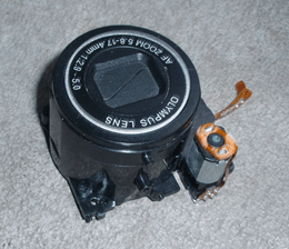 Top view of the lens of an Olympus D-535.