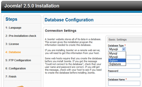 Joomla 2.5.0 Database Configuration