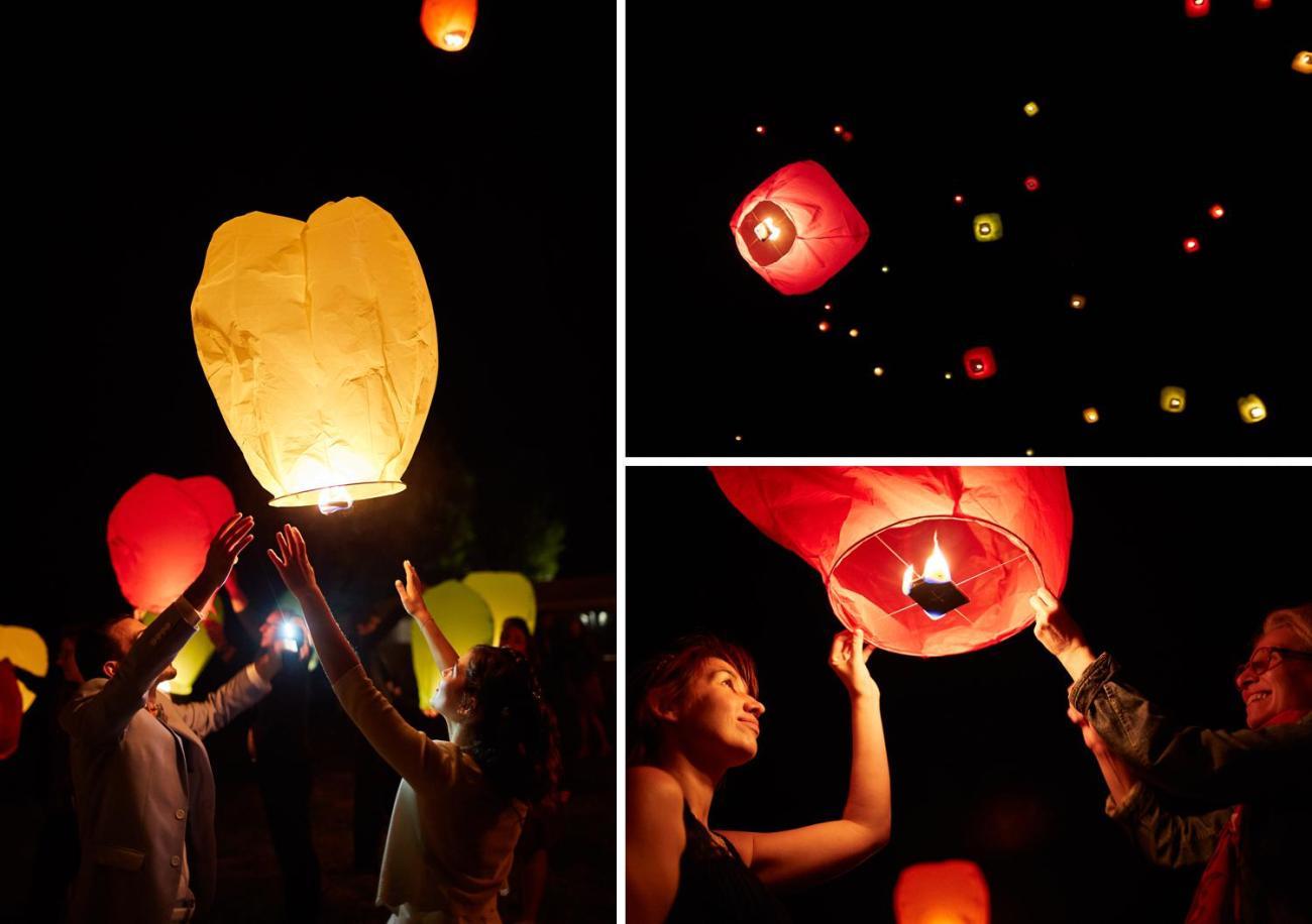 Lâcher de lanternes célestes lors d'un mariage champêtre au Domaine du Moulin des Planches à Montigny-sur-Avre