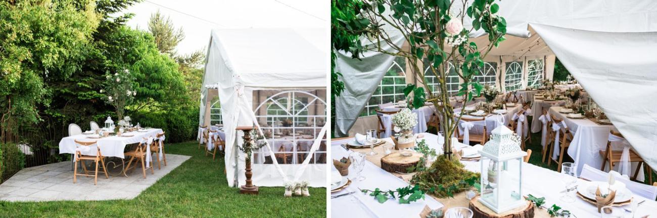 Photos des tables de réception pour un mariage champêtre et féerique