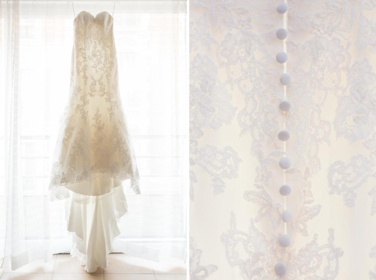 Préparatifs d'un mariage parisien avec détail de la robe de la mariée