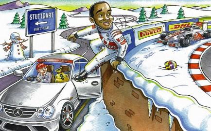 Kartka świąteczna z 2012 roku - Hamilton uciekający z psującego się McLarena do Mercedesa