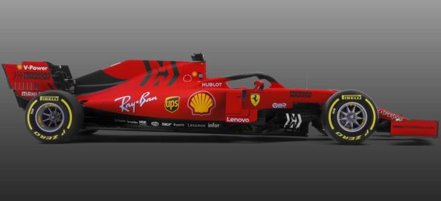 2019 prezentacja grafika Ferrari SF90 bok