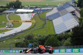 SPIELBERG, AUSTRIA - JULY 03: Max Verstappen of the Netherlands driving the (33) Aston Martin Red Bull Racing RB16 on track during practice for the F1 Grand Prix of Austria at Red Bull Ring on July 03, 2020 in Spielberg, Austria. (Photo by Darko Bandic/Pool via Getty Images)