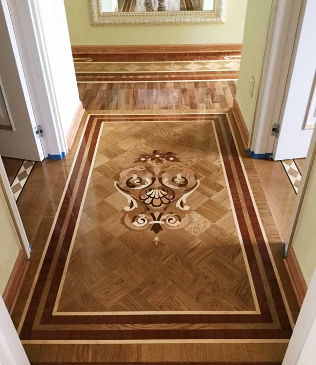 Example of Hardwood or Stone floor Medallion Borders
