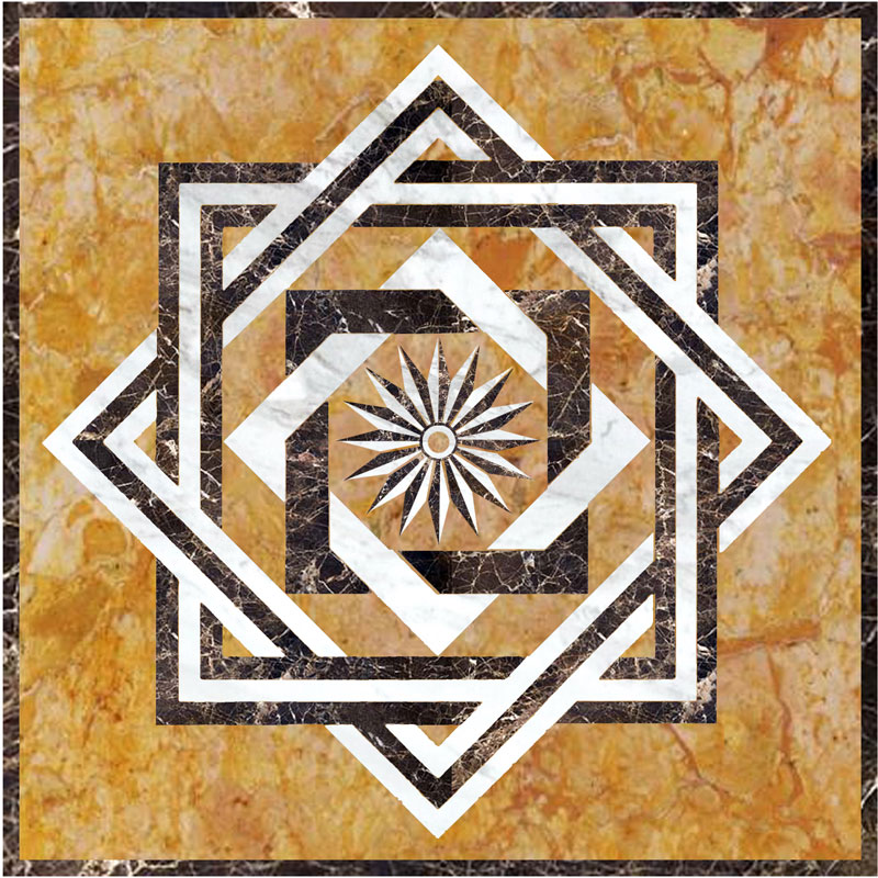 Stone Medallions Model SR2  Custom Wood Stone Flooring