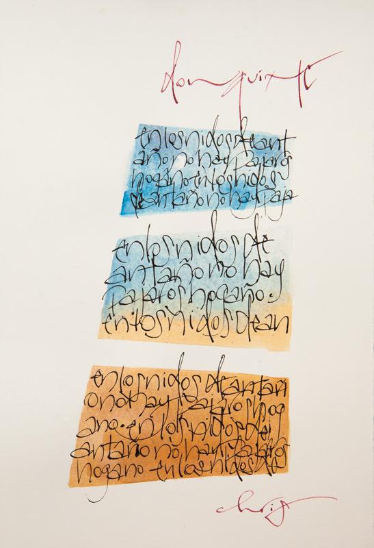 """""""En los nidos de antaño, no hay pajaros hogaño"""", from Don Quixote, sumi ink and watercolor"""